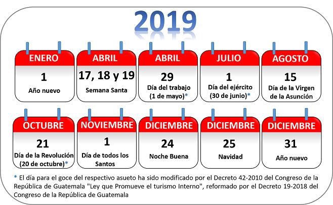 dias no laborales 2019